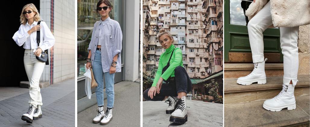 С чем носить белые женские ботинки, фото