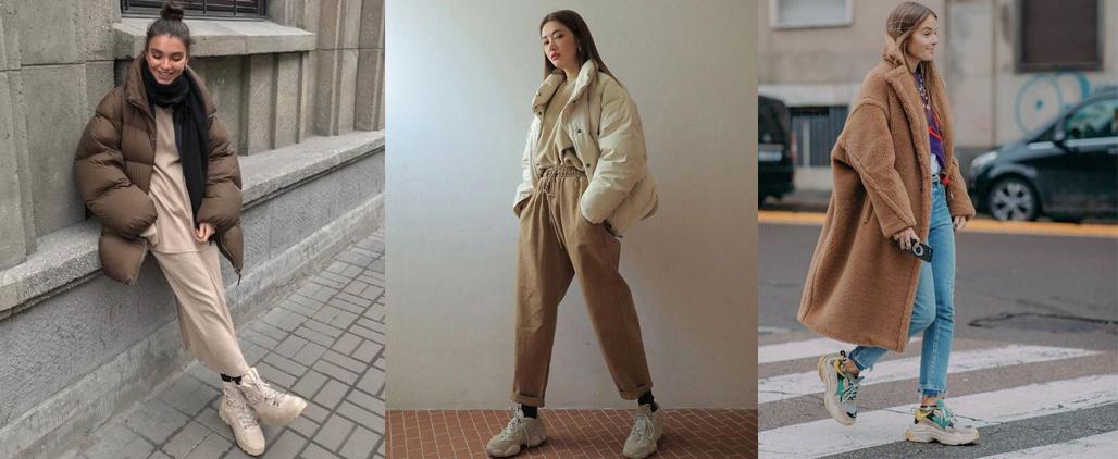С чем носить зимние кроссовки женские, фото